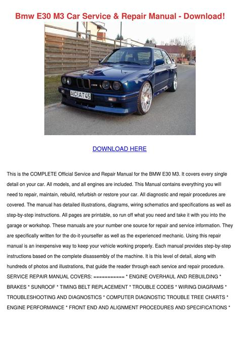 car repair manuals online free 1998 bmw 3 series electronic valve timing bmw e30 m3 car service repair manual download by mindymilton issuu