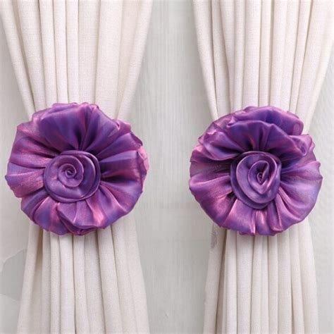 drape holder clip on flower curtain tie back tieback voile drape