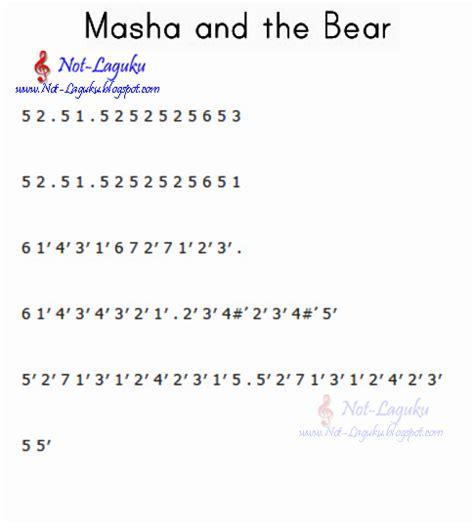 not angka lagu ost masha and the bear pianika recorder keyboard suling