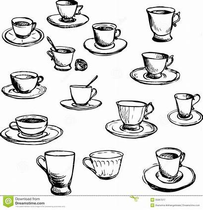 Drawing Teacups Ink Sketch Illustrations Coffee Doodle