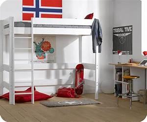 Lit mezzanine enfant clay blanc avec matelas for Tapis chambre ado avec matelas heveane dunlopillo avis