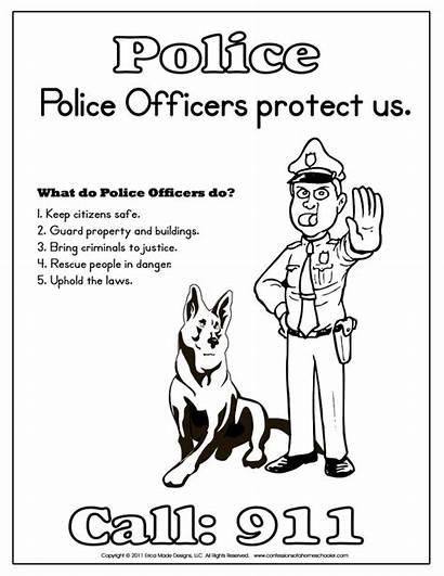 Police Officer Kindergarten Printables Coloring Printable Pages