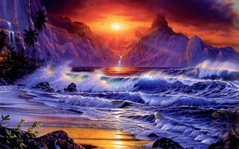 sunset sea shore sea waves rocky mountains red sky dark