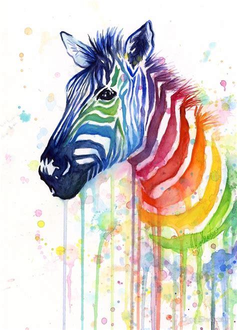 rainbow zebra watercolor animal painting  olga