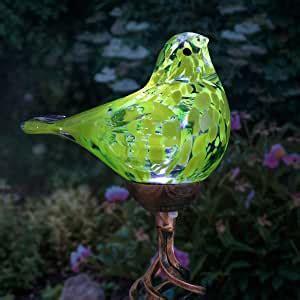 Amazon.com: Exhart Solar Yellow Hand-Blown Glass Bird Yard