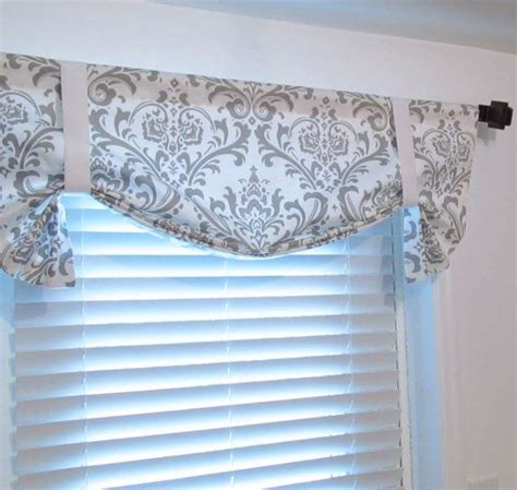 Gray Valance by Tie Up Lined Valance White Grey Damask Custom
