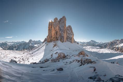 Tre Cime Di Lavaredo Mountains Snow Landscape Nature