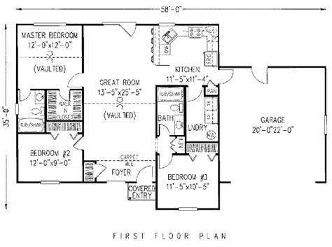 Traditional Style House Plan   3 Beds 2 Baths 1200 Sq/Ft