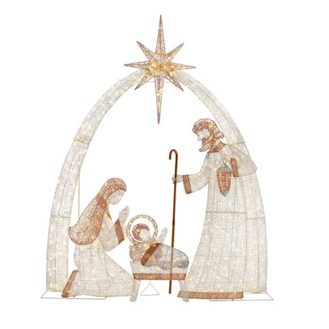 home accents holiday    light led giant nativity