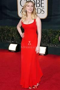 Scarlett Johansson Casual Scoop Neck Ruffled Red Evening ...
