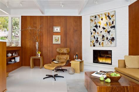 paneled fireplace living room midcentury with modern art