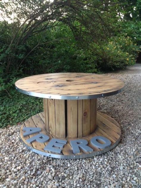 table basse bobine ap 233 ro styl 233 e d 233 coration salon cerclage de fer bois verni originale unique
