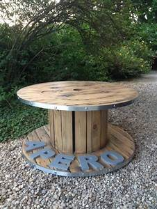 table basse bobine apero stylee decoration salon cerclage With idee de deco jardin exterieur 15 decoration salon couleur