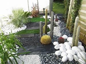 Gazon En Plaque : jardin sec cactus galets polis blancs gazon synth tique ~ Premium-room.com Idées de Décoration