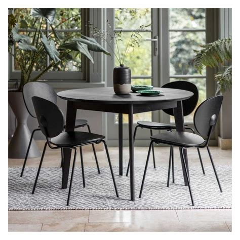 Maybe you would like to learn more about one of these? Small Round Black Wooden Kitchen Dining Room Table 110cm 4 ...