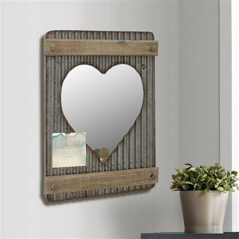 stonebriar collection 15 in x 20 in silver corrugated metal and wood shaped wall mirror