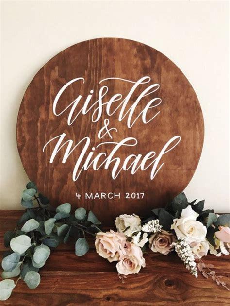wedding  sign circle wedding sign wooden