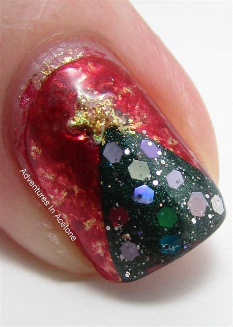 holiday saran wrap nails adventures  acetone