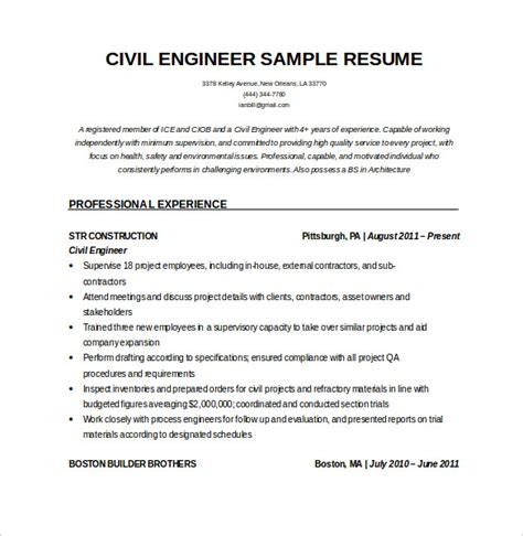 Resume Format For Experienced Civil Engineers Pdf by 16 Civil Engineer Resume Templates Free Sles Psd