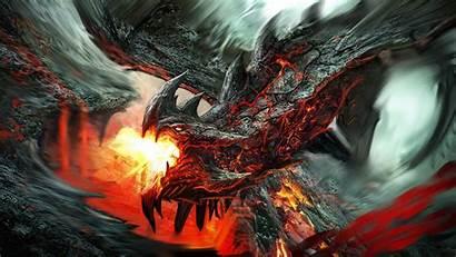 Dragon Fire Fantasy Lava Artwork Creature Backgrounds