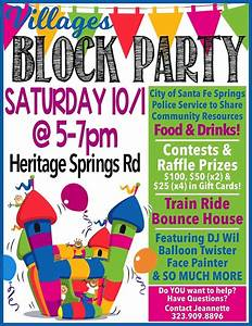 community block party the villages at heritage springs With block party template flyers free