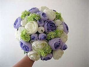 Silk Wedding Bouquet - White & Blue Purple Ranunculus ...