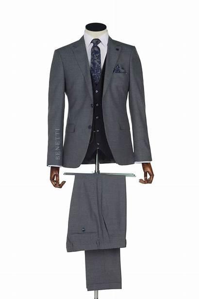Grey Suit Navy Tweed Contrast Waistcoat Murphy