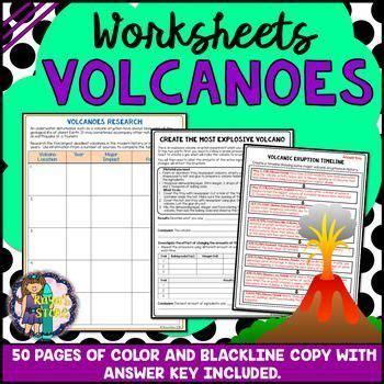 volcanic eruptions worksheets  blackline copy answer