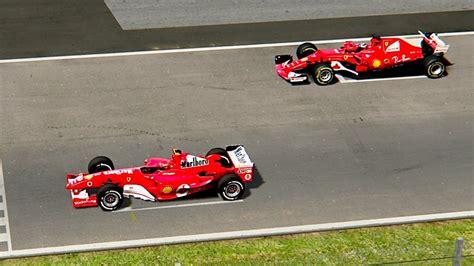 El coche fue tan exitoso como el f2002, ganando 15 de 18 carreras y anotando 12 pole positions, incluidos los registros de muchas de las mejores vueltas rápidas dadas por un monoplaza de fórmula 1 en varios circuitos del. Ferrari F1 2017 vs Ferrari F1 2004 - Monza - YouTube