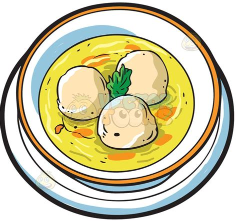 A bowl of matzo ball soup Vector Clip Art Cartoon