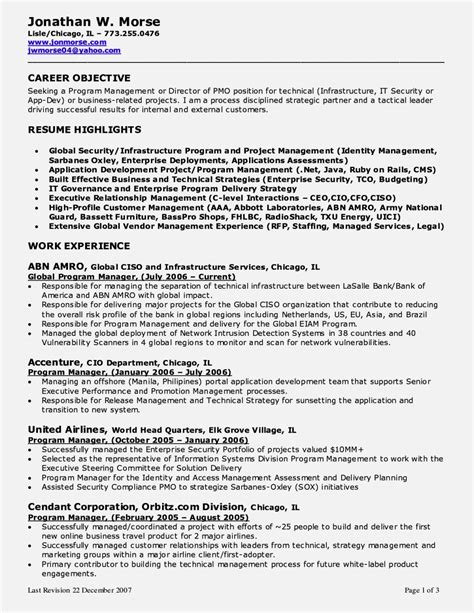 Pmp Resume Objectives by Project Management Resume Objectives The Best Resume Format