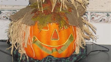 12 quot fiber optic scarecrow pumpkin halloween decoration lighted