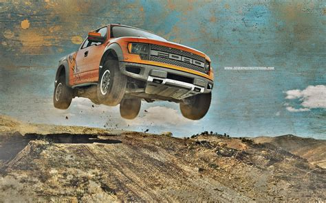 ford raptor truck jump stop action hd wallpaper cars