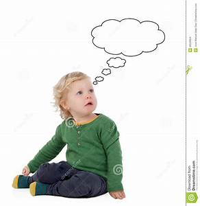Cute Baby Thinking Isolated Stock Illustration - Image ...