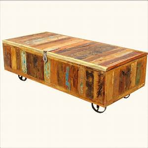 Wood wrought iron storage box coffee from for Coffee table with wheels and storage