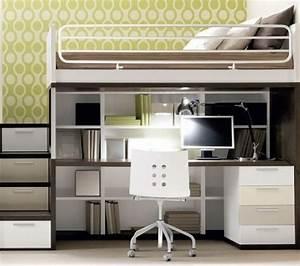 Lit Avec Bureau : lit mezzanine 2 place maison design ~ Teatrodelosmanantiales.com Idées de Décoration