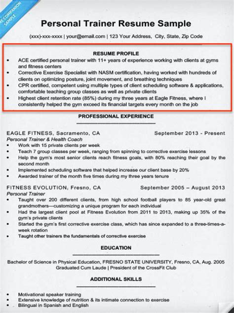 resumes resume exles sle profile statements for