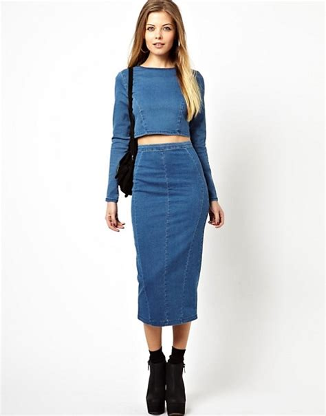 ASOS | ASOS Denim Seamed Midi Pencil Skirt