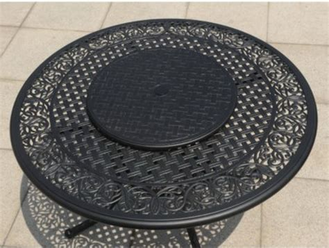 lazy susan for umbrella table new outdoor furniture dining 48 quot round metal table chairs