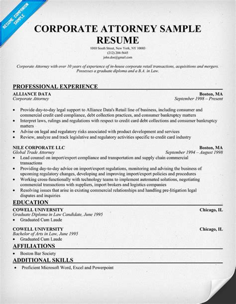 Attorney Resume Exles by Attorney Resume