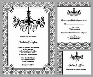 7 best images of chandelier wedding invitation template With black and white wedding invitations free download