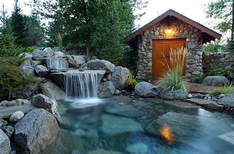 el patio eau water charming spectacular pool waterfalls to fashion every