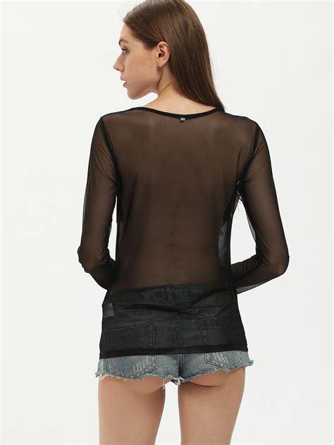 sheer black blouse black sleeve sheer blouse shein sheinside