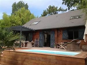 maison bois avec piscine chauffee exposee plein sud a With maison bois avec piscine