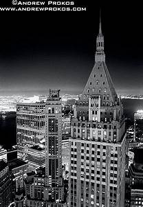 View of 40 Wall Street and Financial District at Night ...