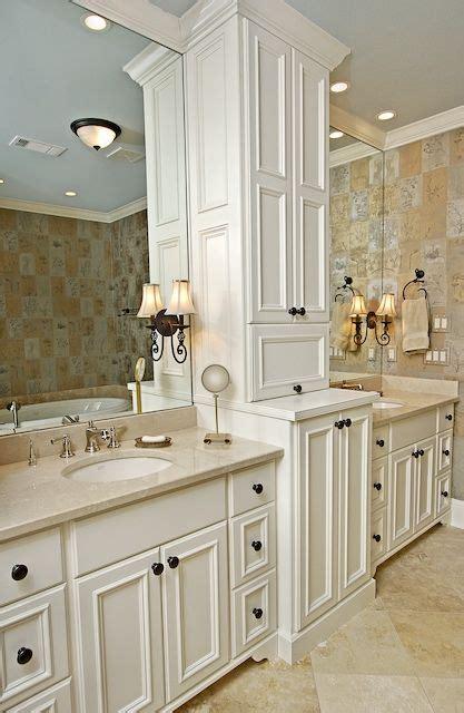 vanities  shared central storage  bath