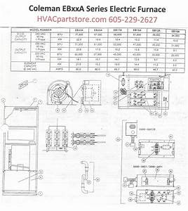 Eb15a Coleman Electric Furnace Parts  U2013 Hvacpartstore