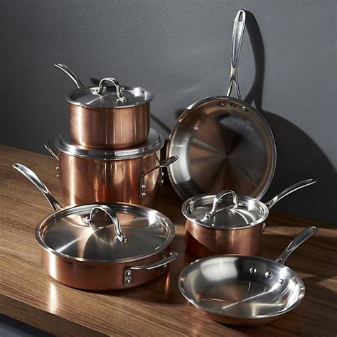 calphalon tri ply copper  piece cookware set copper cookware set copper cookware cookware set