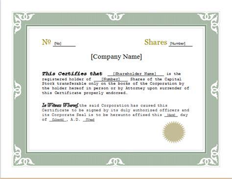 Stock Certificate Template Customizable Stock Certificate Template For Word