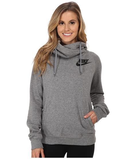 hooded drawstring pullover nike rally funnel neck hoodie carbon cool grey